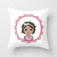 Brunette Bob Throw Pillow