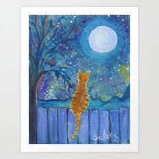 Cat on a fence in the moonlight Art Print