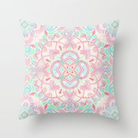 Mint and Blush Pink Painted Mandala Throw Pillow