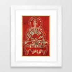 Zombuddha Red Linocut Framed Art Print