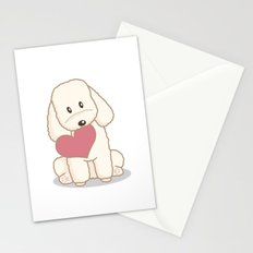 Toy Poodle Dog with Love Illustration Stationery Cards