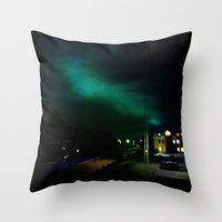 Northern Lights in Tromso Throw Pillow