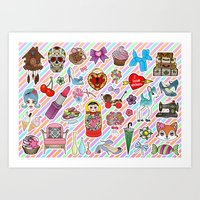 I Love Stickers Art Print