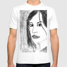 THE UNKNOWN GIRL White Mens Fitted Tee SMALL