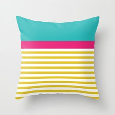 Yellow Stripes With A Touch Of Mint And Pink Throw Pillow