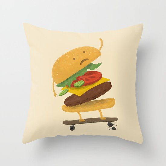 Burger Wipe-out  Throw Pillow
