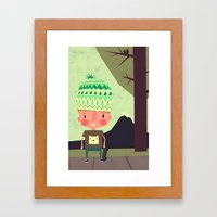 kid playing in the streets Framed Art Print