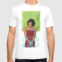 Amarican Lotus Mens Fitted Tee White SMALL