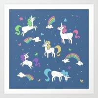 Unicorns and Rainbows - Blue Art Print