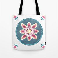 Suzani inspired floral blue 2 Tote Bag