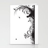 Secret Garden Black and White Illustrated Quote Stationery Cards