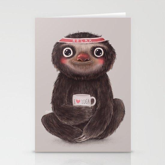 Sloth I♥yoga Stationery Card