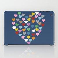 Hearts Heart Navy iPad Case