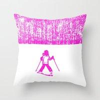 Little Skier II Throw Pillow