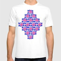 Watercolour Union Jack  Mens Fitted Tee White SMALL