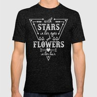 Stars in Her Eyes Flowers in Her Hair Mens Fitted Tee Tri-Black SMALL