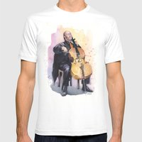Cello Music Watercolor C… Mens Fitted Tee White SMALL