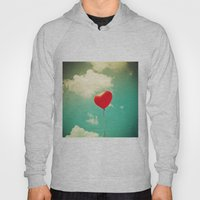 Red Heart Balloon in a Vintage Turquoise Sky  Hoody