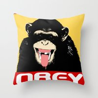 Obey The Chimp Throw Pillow