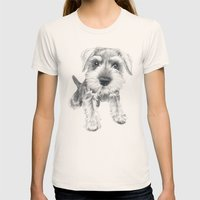 Schnozz the Schnauzer Womens Fitted Tee Natural SMALL