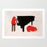 A Sleepy Bear Playing Pi… Art Print