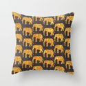 The Golden Elephants Herd Throw Pillow