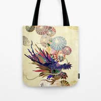 Dragon with unbrellas Tote Bag