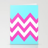 TEAL & PINK CHEVRON COLO… Stationery Cards