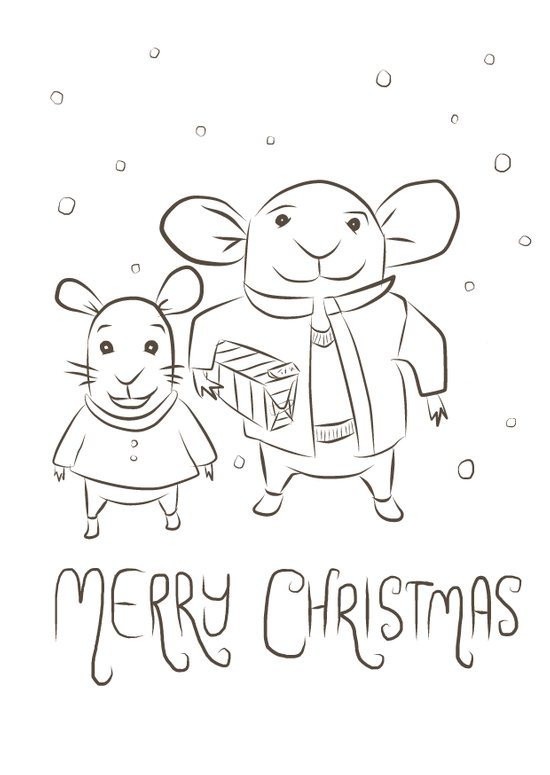 Mice in the Snow - Christmas Card Art Print