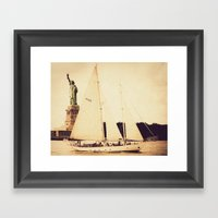 A Day on the Hudson with Lady Liberty Framed Art Print