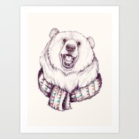 Bear & Scarf Art Print