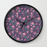 Flowers And Skulls Wall Clock