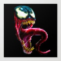 Venom Pixel : Black Background Canvas Print