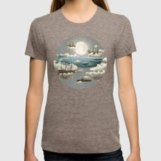 Ocean Meets Sky Womens Fitted Tee Tri-Coffee SMALL