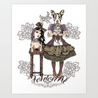 Kawaii and dog Tonton AL Art Print
