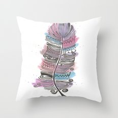 Purple and Blue Zen Feather Throw Pillow