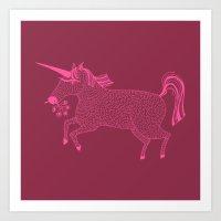 Pink On Pink Unicorn Art Print
