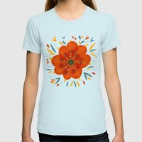 Decorative Whimsical Ora… Womens Fitted Tee Light Blue SMALL
