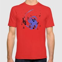Musical Blue Mens Fitted Tee Red SMALL