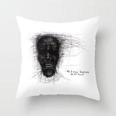 Scribble Face Throw Pillow