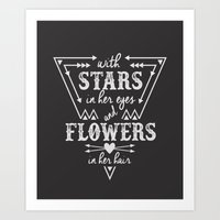 Stars in Her Eyes Flowers in Her Hair Art Print