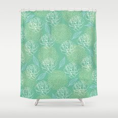 Pastel Peony and Leaf Pattern Design  Shower Curtain