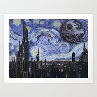 A Starry Wars Night Art Print