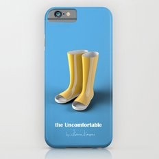 The Uncomfortable Rainboots in a blue background iPhone 6 Slim Case