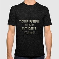 Your Knife My Back! Mens Fitted Tee Tri-Black SMALL