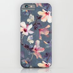 Butterflies and Hibiscus Flowers - a painted pattern iPhone 6 Slim Case
