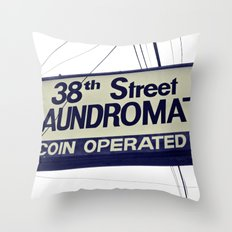 38th Street Laundromat Throw Pillow