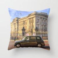 Taxi Buckingham Palace Panorama Throw Pillow