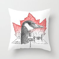Canada Goose on Maple Leaf (with some red) Throw Pillow