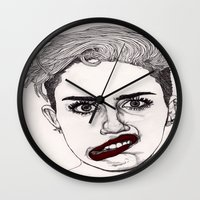 Miley With Red Lips Wall Clock